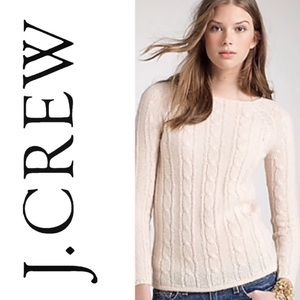 J. Crew Gray Cable Knit Mohair Blend Sweater Small